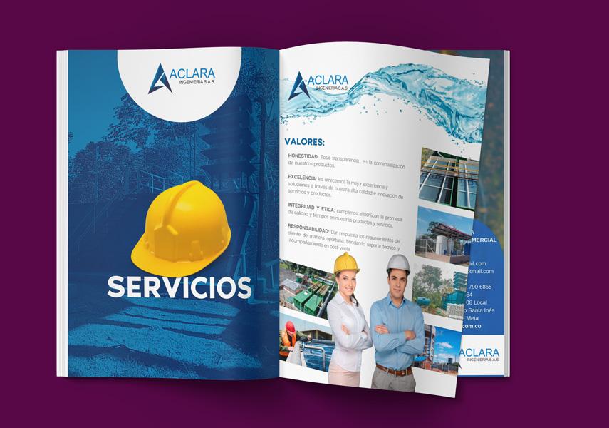 Diseño de portafolio Brochure - Aclara ingenieria Villavicencio - diseño grafico