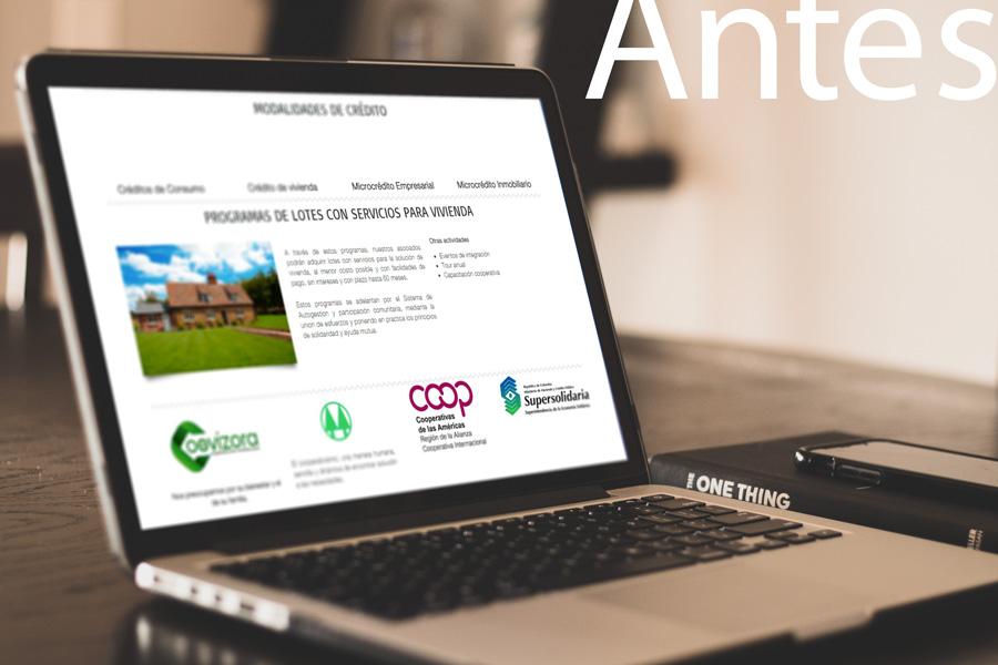 diseño de pagina web coovizora empresa banco de ahorro y crédito villavicencio coovizora