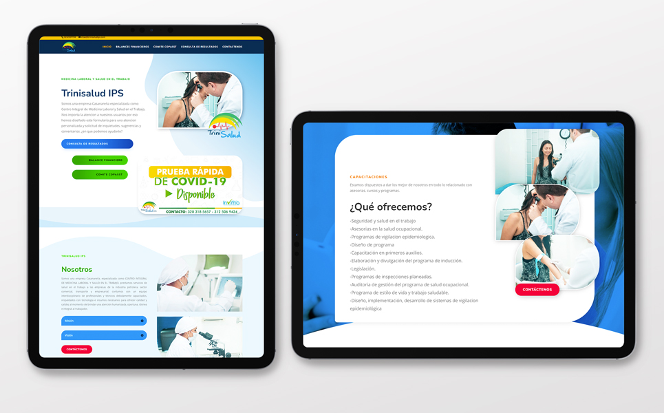 diseño de pagina web en Yopal para trinisalud ips eclinica